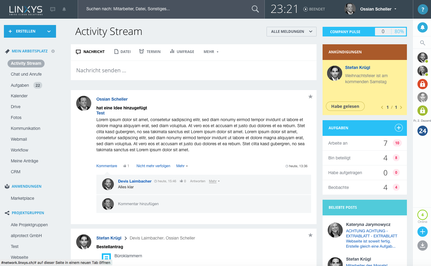 LINXYS Social Intranet Activity Stream