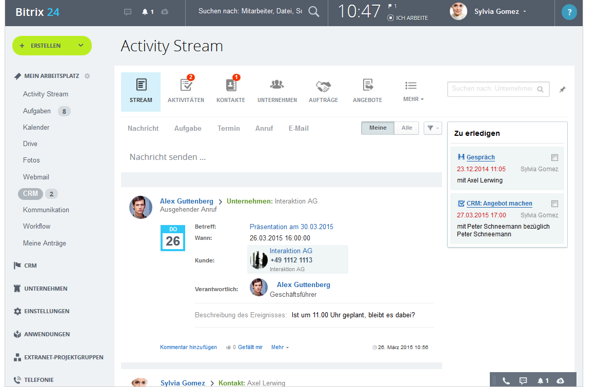 LINXYS Social Intranet CRM Kundenbeziehungen Bitrix24