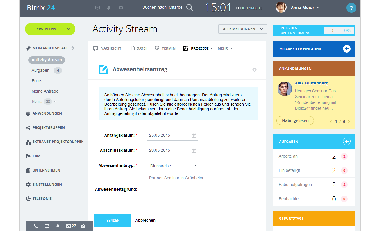 LINXYS Social Intranet HR Automatisierte Workflows Bitrix24