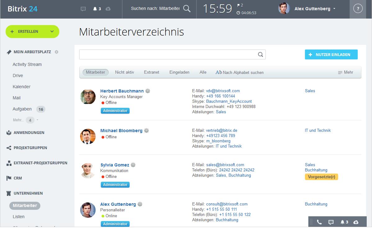 LINXYS Social Intranet HR fuer Mitarbeiter Bitrix24