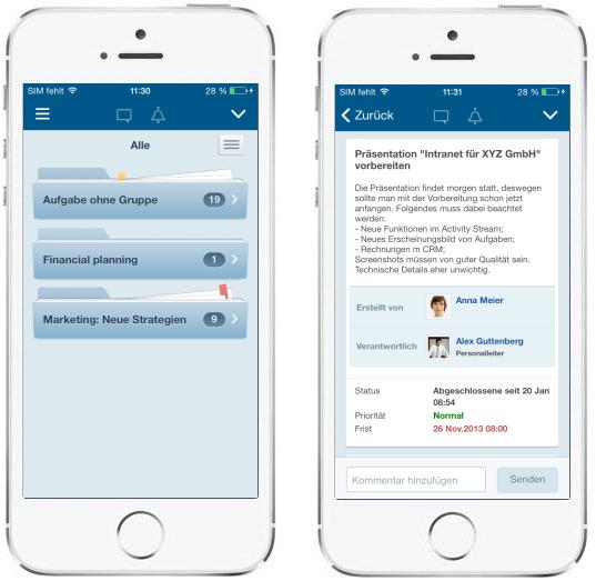 LINXYS Social Intranet Mobile Aufgaben Bitrix24