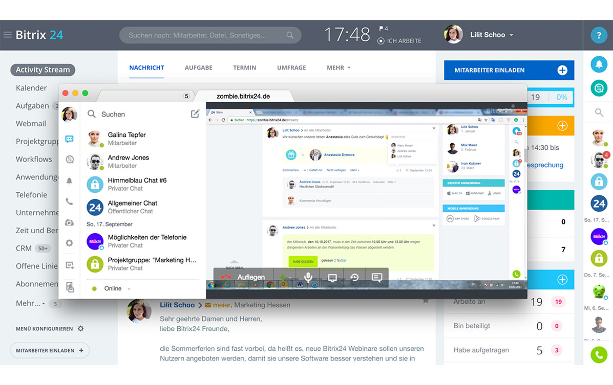LINXYS Social Intranet Screensharing Bitrix24